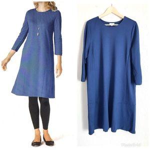 J JILL Seamed Ponte Sheath Dress Blue Knit